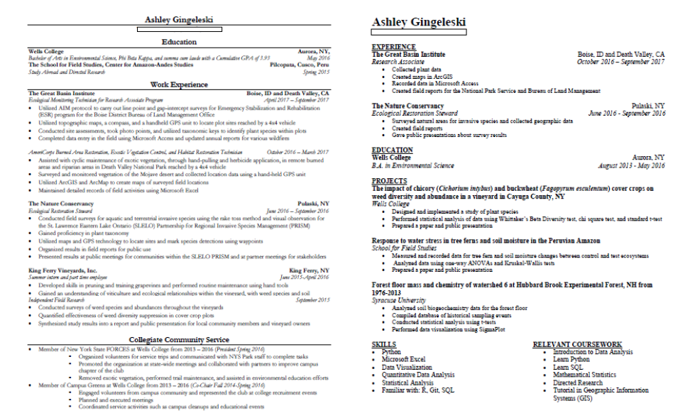 Comparison of environmental science resume (left) and newly edited data science resume (right).