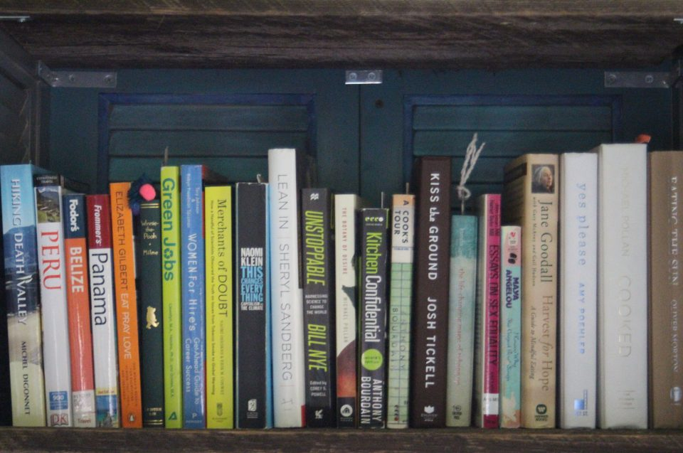 An assortment of books on a shelf.