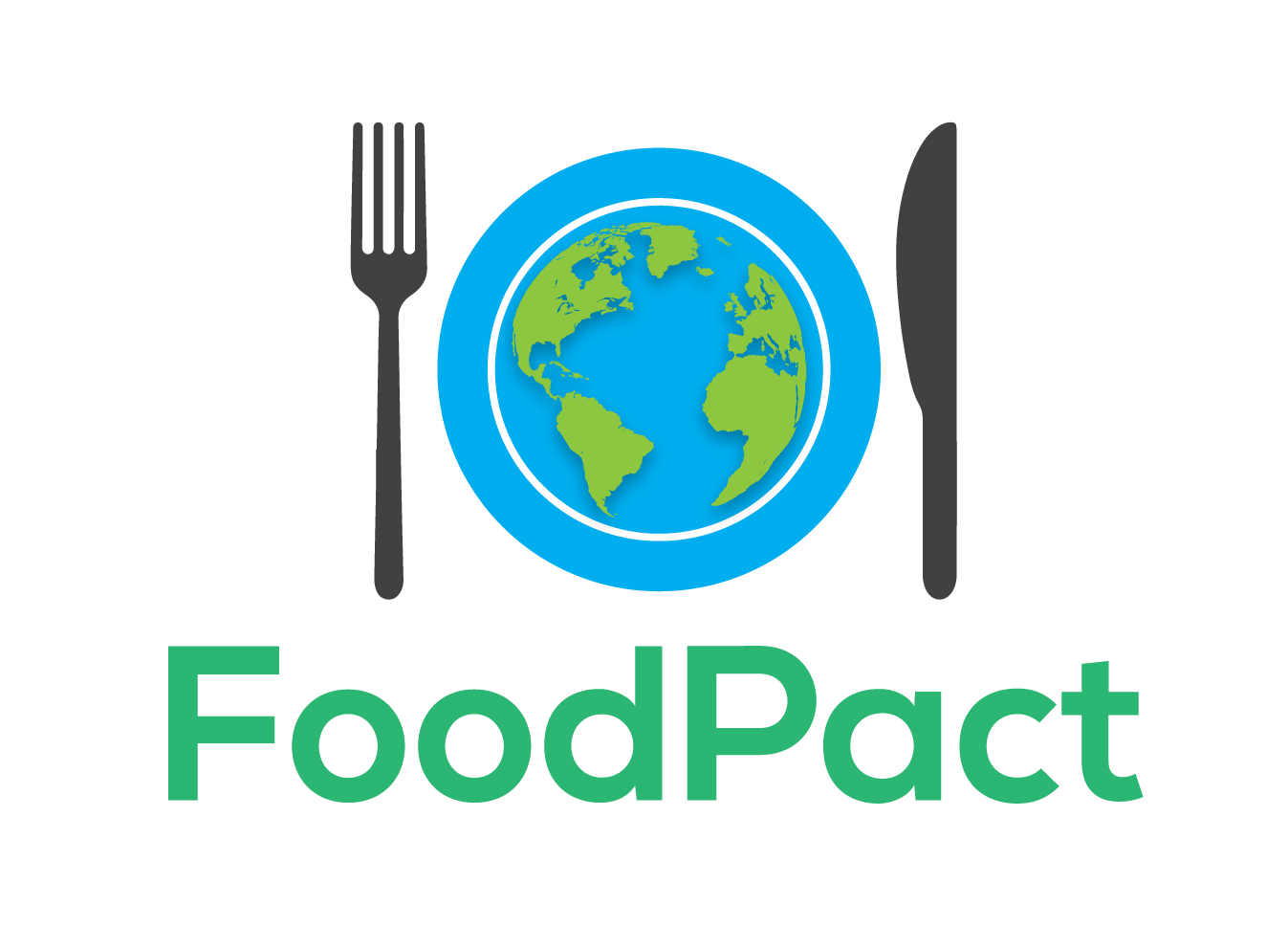 A fork and knife surround a plate that has earth on it and FoodPact is written below.
