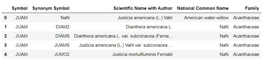 A preview of a table shows 5 entries of various plants that are present in New York state, including their USDA symbol, synonym symbol, scientific name, common name, and plant family.