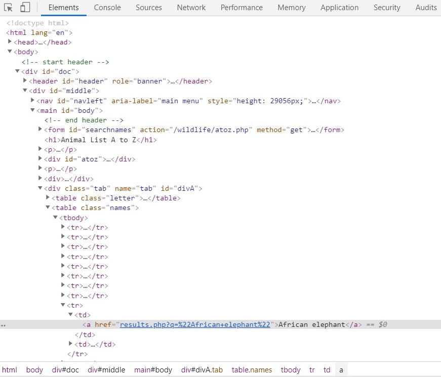 Screenshot of the DevTools window showing the selected element and its surrounding HTML that we'll need to scrape the data.